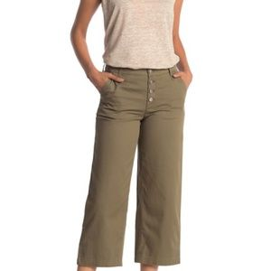 J Crew Button Fly Wide Crop Twill Pants NWT